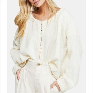 Free People Moving Mountains Frayed Trim Top NWT